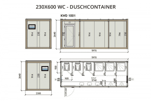 230x600 WC Duschcontainer