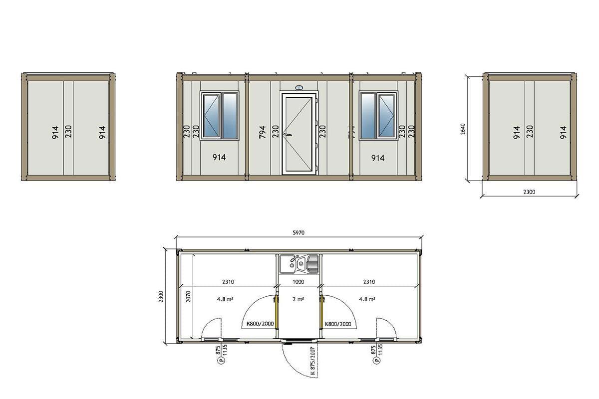 3001 Container technische Zeichnung