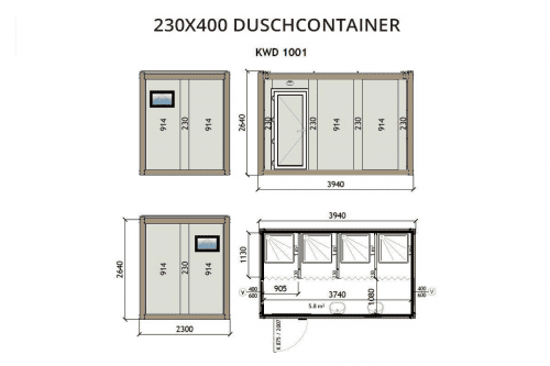KWD1001 230x400 Duschcontainer