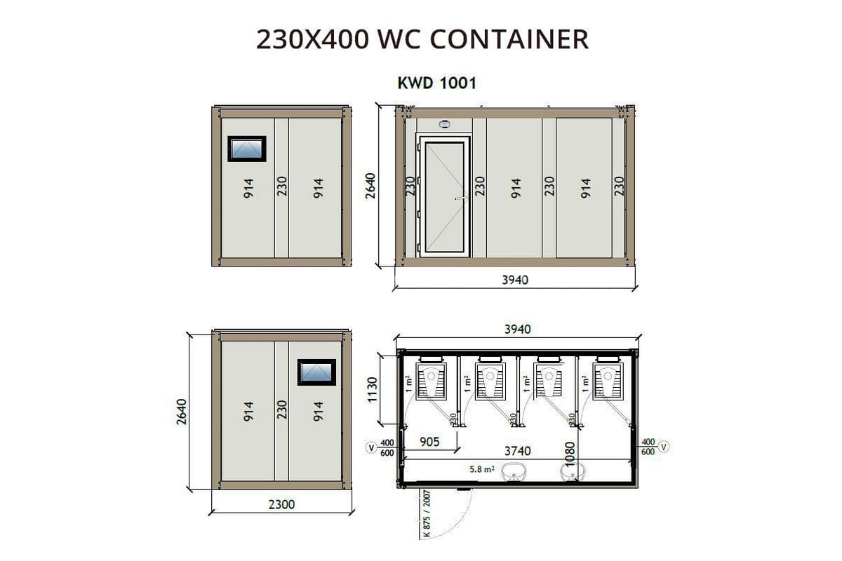 KWD1001 230x400 WC Container