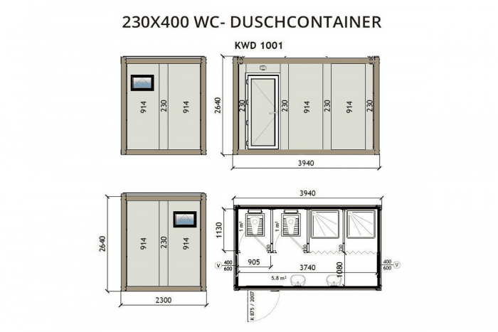 KWD1001 230x400 WC Container Duschcontainer