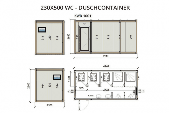 KWD1001 230x500 WC Duschcontainer