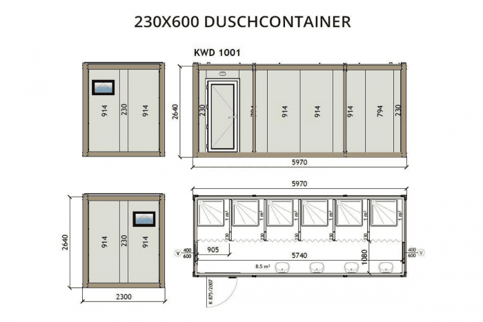 KWD1001 230x600 Duschcontainer