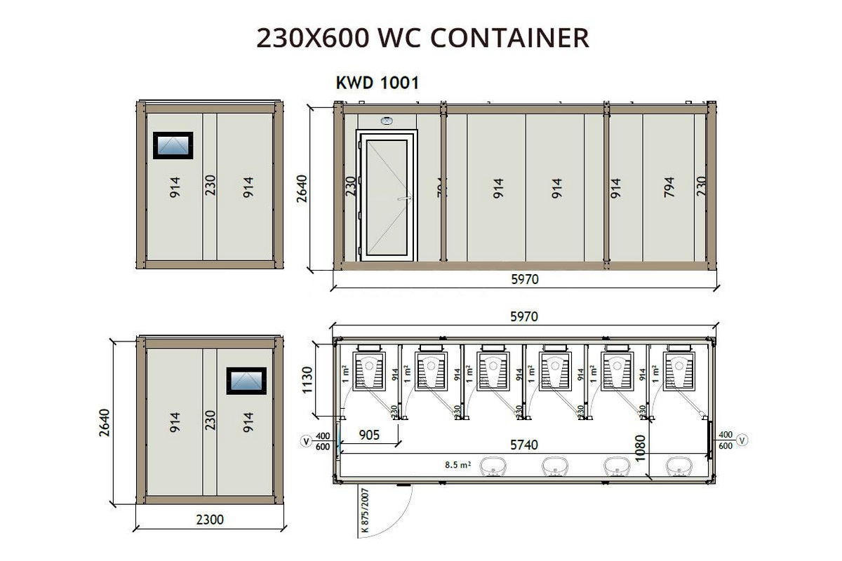 KWD1001 230x600 WC Container