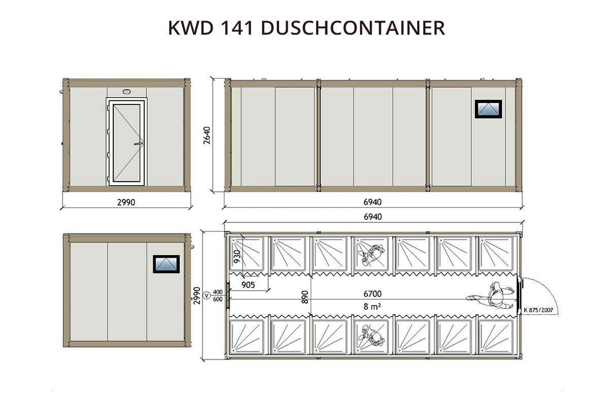 KWD141 Duschcontainer