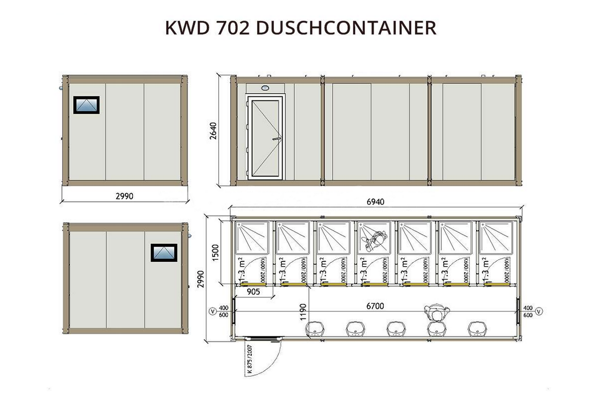 KWD702 Duschcontainer